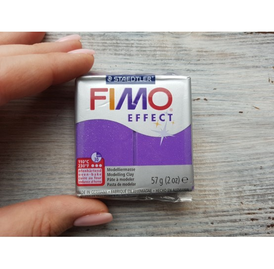 FIMO Effect oven-bake polymer clay, purple (glitter), Nr. 602, 57 gr