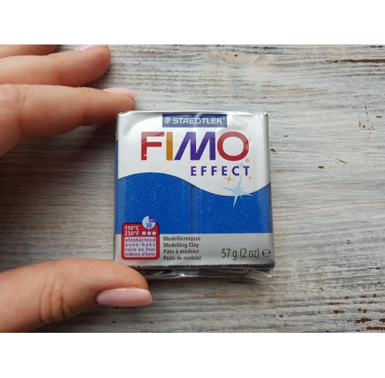 FIMO Effect oven-bake polymer clay, blue (glitter), Nr. 302, 57 gr