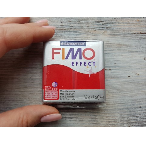 FIMO Effect oven-bake polymer clay, red (glitter), Nr. 202, 57 gr