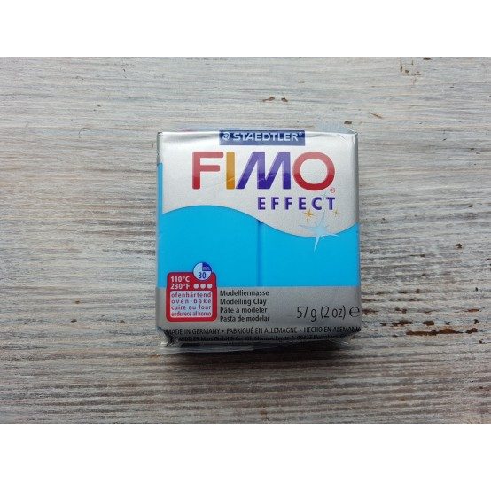FIMO Effect oven-bake polymer clay, blue (translucent), Nr. 374, 57 gr