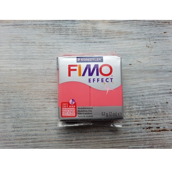 FIMO Effect oven-bake polymer clay, red (translucent), Nr. 204, 57 gr