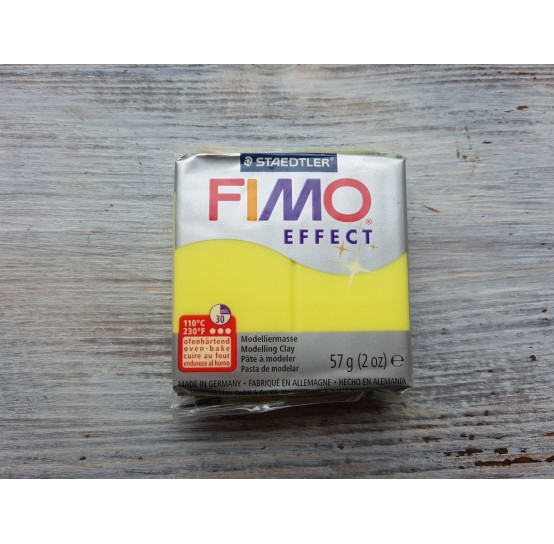 FIMO Effect oven-bake polymer clay, yellow (translucent), Nr. 104, 57 gr