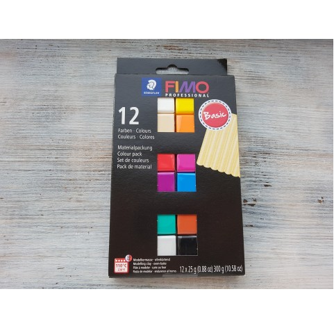 FIMO Professional oven-bake polymer clay, pack of 12 colours, 300 gr