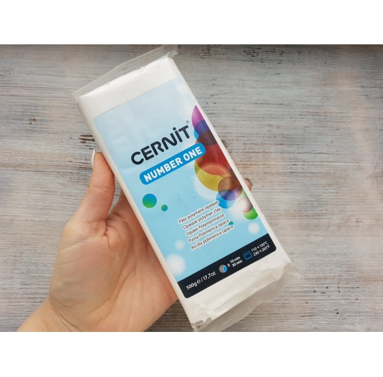 Cernit Number One oven-bake polymer clay, opaque white, Nr. 027, 500 gr