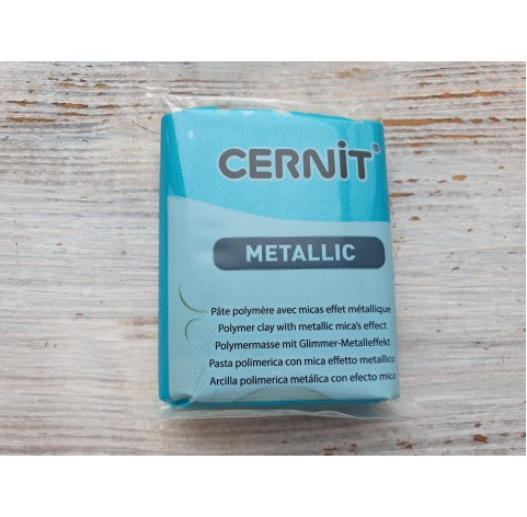 Cernit Metallic oven-bake polymer clay, turquoise green, Nr. 676, 56 gr