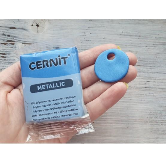 Cernit Metallic oven-bake polymer clay, blue, Nr. 200, 56 gr