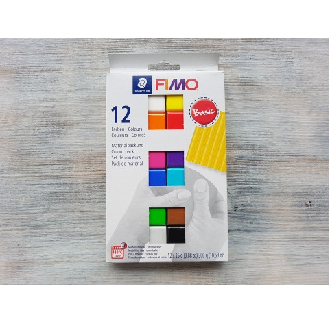 FIMO Soft/Effect oven-bake polymer clay, pack of 12 colours, basic, 300 gr