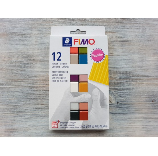 FIMO Soft/Effect oven-bake polymer clay, pack of 12 colours, fashion, 300 gr