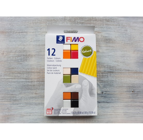 FIMO Soft/Effect oven-bake polymer clay, pack of 12 colours, natural, 300 gr