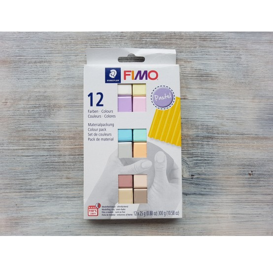 FIMO Soft/Effect oven-bake polymer clay, pack of 12 colours, pastel, 300 gr