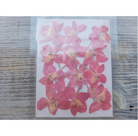 Dried flowers for jewelry, pink, 12 pcs.