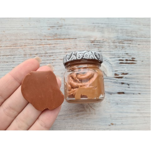 Caramel imitation from oven-bake polymer clay, 40 gr., in a glass jar