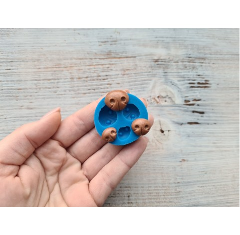 Silicone mold, bear's nose, 3 pcs., 1.8*1.5 cm, 1.5*1.3 cm, 1.3*1 cm
