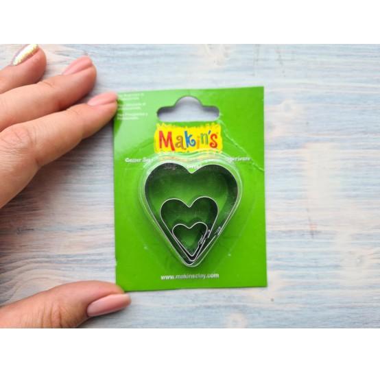 Set of metal cutters Makins, heart, 3 pcs., 2 cm, 3 cm, 4 cm