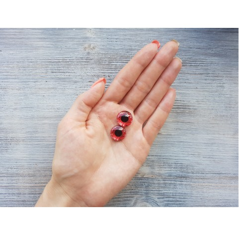 Glass eyes Red 1, ~ Ø 1.6 cm